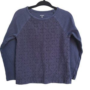 CARTER'S Navy Blue LS Top with Eyelet Front 3T